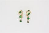 EARRINGS:  [1 pair] 18KYG hoop style earrings set with 8 rd emeralds (3.7 mms in diameter) and 6 rd