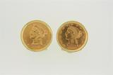 CUFFLINKS:  [1 pair] 18KYG cufflinks, each set with a $5 gold coin(1881 & 1903); 31.1 grams