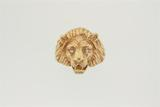 RING:  [1] 14KYG lion's head ring set with 2 dia.s, TWA 0.05 cts, H, VS2; size 9½; 17.1 grams