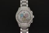 WATCH: Gents st.steel Aqua Master chronograph diamond wristwatch, white mother-of pearl dial w/ pink