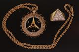 PENDANT: Unisex 14ky & 10kw Mercedes Benz logo pendant w/ most diamonds removed, 23 rd dias, 1.2mm t