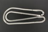 CHAIN: Gents 10kw square curb link chain necklace (hollow); 7.03mm wide x 6.64mm thick x 36