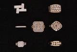 RING:  [1] 14 KWG ring set with 24 princess cut dia.s and 24 rd dia.s, TWA .038 cts, H/I, SI1-I1;  s