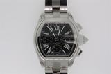 WATCH: Gents st.steel Cartier Roadster chronograph wristwatch; black dial w/ silver Roman numerals,