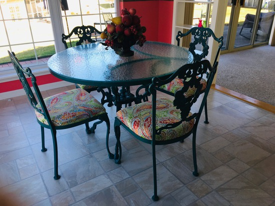 Cast Iron Table W/ Glass Top & 4 Matching Chairs