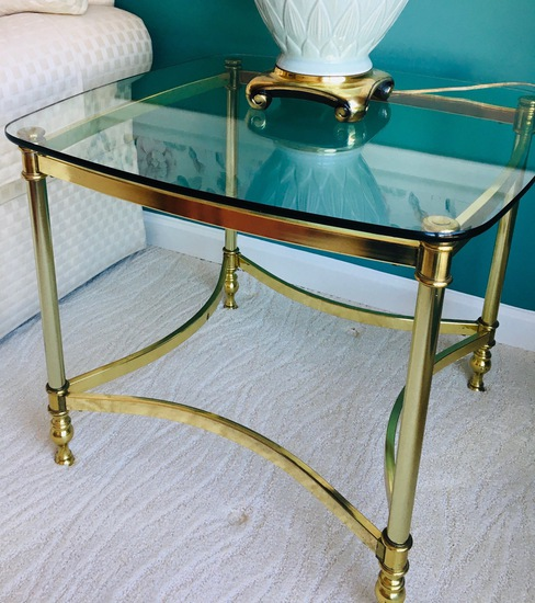 Glass End Table With Gold Framework