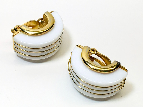 TRIFARI Clip Earrings - Gold Metal & White Banded Art Deco Style