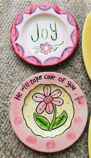 2 Whimsical Grace JOY Plate & He Will Take Care Of You Plate