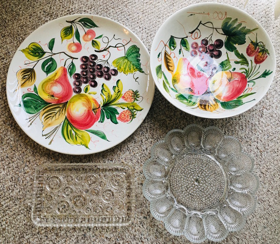Italy Handpainted Platter, Serving Bowl. Vintage Glass Luncheon and Egg Platter