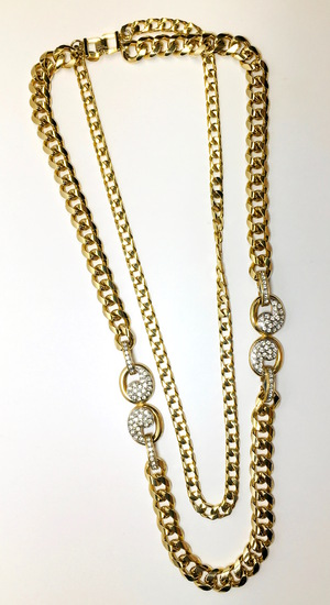 Joan Collins Double Chain and Interlocking Side Accents