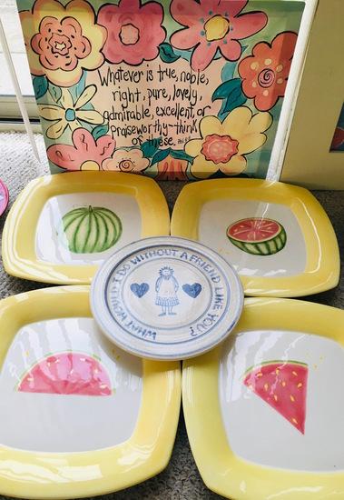 REIF Stoneware, 4 J Willfred - Sattler - Charles Sadek Watermelon Picnic Plates - Canvus Print
