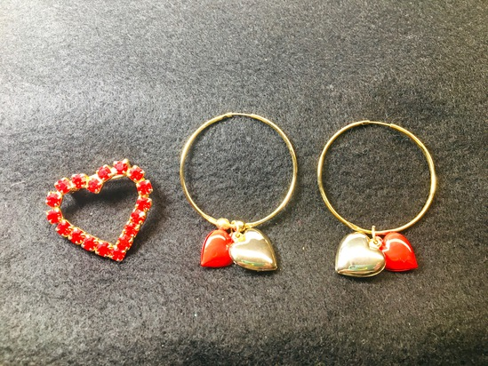 Vintage Heart Pin & Gold Hoops