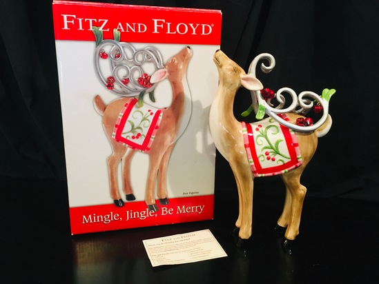 Fitz And Floyd -  Mingle, Jingle, Be Merry DEER FIGURINE #1