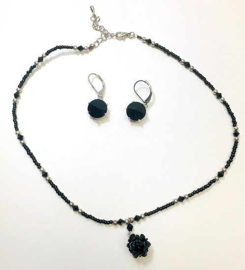 Black Glass Beads & Silver Neckless with Earrings