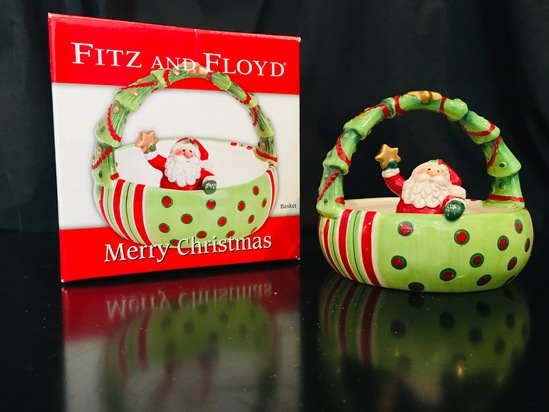 Fitz And Floyd -  Merry Christmas Santa Basket 2006