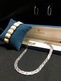 TRIFARI Silver Neckless. Silver Tone Hoop Earrings & Stretch Bracelet