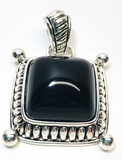DRAMA Antiqued Silver Plated Black Onyx Acrylic Stone Pendant