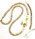 Marble Bead Bone Carved Neckless, Lapel Pin, Mineral Stone Bracelet