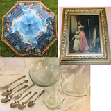 KY Derby Umbrella - Vintage Double Framed Print -Stainless Imperial, Arcoroc France Glass