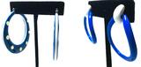 2 Pairs - Blue and White Hoop Droplet Earrings