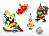 Pins & Pendants SIGNED CINDER - SIGNED ART - Santa, Butterfly, Double Hearts, Christmas Tree Pin
