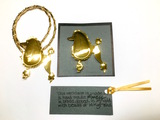 1997 Signed - 24K Gold Carlton Ridge - Sutton Hoo Poodle Pendant and Pin Set