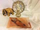 Art Pottery, Art Glass, Perfume Bottle, SIGNED Full Lead Crystal Elephant