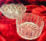 Lead Crystal Round Bowl- Vintage sawtooth bowl pressed glass.