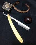 Vintage Men's Straight Razor, Copper Braided Bracelet, 4 Leaf Clover Pill Box & Buckeye