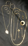 Gold Jewelry, Pins, 2 Sets Hoop Earrings, 3 Chains & More