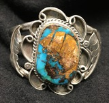 Massive Vintage Sterling Silver Turquoise Cuff