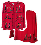BEREK Red Button Up Sweater with Kitty Cat Theme