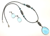 Antiqued Silver Blue Water Droplet Neckless & Earrings