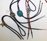 4 Vintage BOLO TIES. They are coming back in style again.