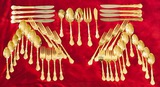 Prescott Forge Alco 46 Piece Flatware Set 18/0 Stainless Gold Plated Wooden Hostess Tray.