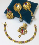 2 Pairs of RARE Katrina 1980's CIRCUS Earrings & Box Bracelet with Multi-Colored Crystals