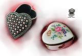2 Heart Shaped Trinket Boxes - Porceilin & Metal. Limoges France