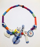 1980's CANDACE LOHEED - Ruby Z - Cat & The Fiddle Ceramic Necklace