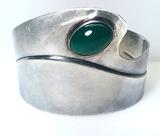REBAJES -Sterling Silver Vintage RARE Francisco Rebajes Modernist Wide Cuff Bracelet