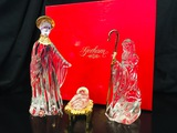 Gorham Crystal NATIVITY SET (3 PIECE) - 24kt Gold Plated Accents. GERMANY