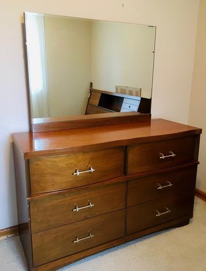 #2 CAVALIER Bedroom Suit Set Mid Century Headboard Chest Dresser mirror