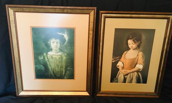 2 Framed Prints - Rembrandt - Titus - Young Girl