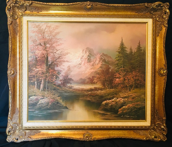 Tranquil Nature Painting in wonderful frame 20 x 24