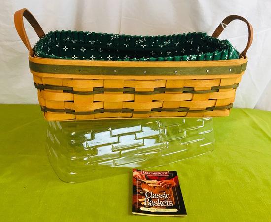1997 Longaberger Green Pantry Basket Set, Liner, Protector, Leather Handles