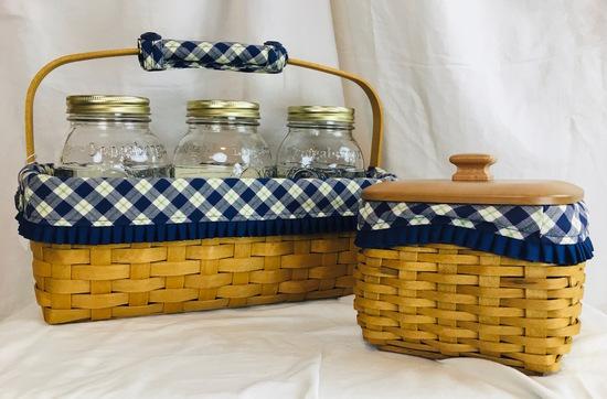 2003 Blue Ribbon Canning Basket Set. 3 Canning Jars, 2004  Blue Ribbon Collection Mending