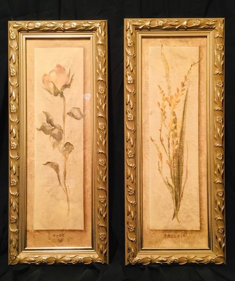 2 Gold Framed Prints of ROSE & Freesia