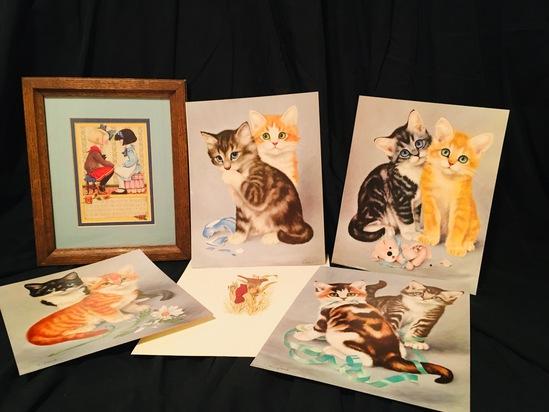 1967 Girard Prints of Kittens, Cats, Children,