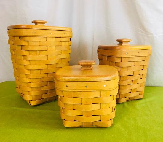 Teaspoon, Medium Spoon, Small Spoon Basket sets wth wooden lids.