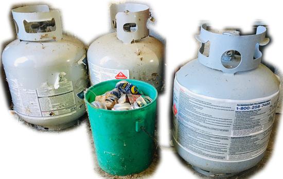 3 Propane Tanks and bonus bucket of Aluminum Cans