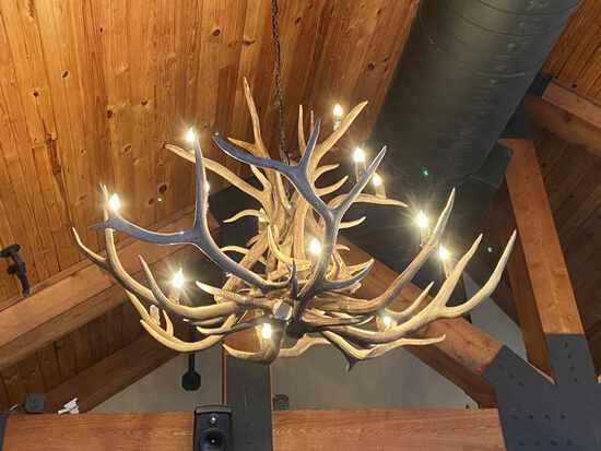 Elk Antler Chandelier for Man Cave or Castle
